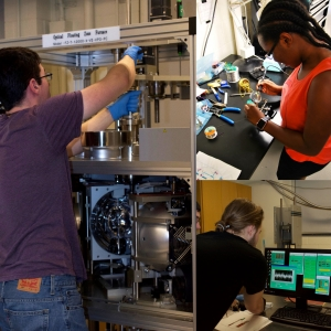 collage of students working in research labs